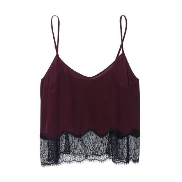 Wilfred Maroon Tank Top with Black Lace Size: XXS